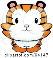Royalty Free RF Clipart Illustration Of A Cute Tiger Cub Smiling Upwards by Cory Thoman