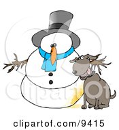 Dog Peeing On A Snowman Clipart Illustration by djart