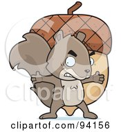 Royalty Free RF Clipart Illustration Of A Mad Squirrel Protecting His Giant Acorn by Cory Thoman