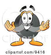 Clipart Picture Of A Hockey Puck Mascot Cartoon Character With Welcoming Open Arms