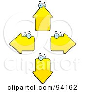 Royalty Free RF Clipart Illustration Of Four Yellow Arrow Heads Facing Different Directions by Cory Thoman