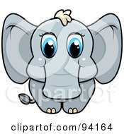 Royalty Free RF Clipart Illustration Of A Baby Elephant With Big Blue Eyes by Cory Thoman