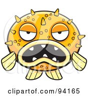 Royalty Free RF Clipart Illustration Of A Grumpy Orange Blowfish Facing Front by Cory Thoman