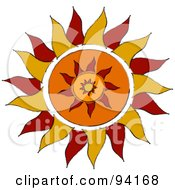 Royalty Free RF Clipart Illustration Of A Red And Orange Tribal Styled Sun Design