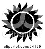 Royalty Free RF Clipart Illustration Of A Black And White Tribal Styled Sun Design 2