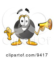 Clipart Picture Of A Hockey Puck Mascot Cartoon Character Holding A Megaphone