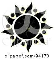 Royalty Free RF Clipart Illustration Of A Black And White Tribal Styled Sun Design 3
