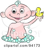 Royalty Free RF Clipart Illustration Of A Caucasian Baby Holding Up A Rubber Duck In A Bubble Bath