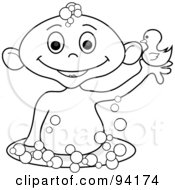 Royalty Free RF Clipart Illustration Of An Outlined Baby Holding Up A Rubber Duck In A Bubble Bath