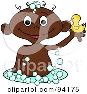Royalty Free RF Clipart Illustration Of An African Baby Holding Up A Rubber Duck In A Bubble Bath