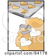 Royalty Free RF Clipart Illustration Of A Heart Shaped Cookie Cutter Resting On Dough By A Cookie Sheet by Pams Clipart