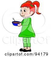 Royalty Free RF Clipart Illustration Of A Little Red Haired Girl Standing And Holding A Bowl by Pams Clipart