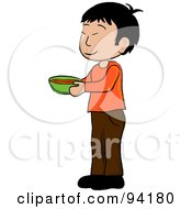 Little Asian Boy Standing And Holding A Bowl