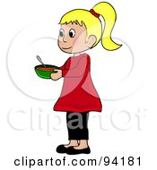 Royalty Free RF Clipart Illustration Of A Little Caucasian Girl Standing And Holding A Bowl by Pams Clipart