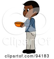 Royalty Free RF Clipart Illustration Of A Little Indian Boy Standing And Holding A Bowl by Pams Clipart