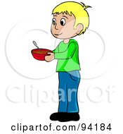 Royalty Free RF Clipart Illustration Of A Little Caucasian Boy Standing And Holding A Bowl