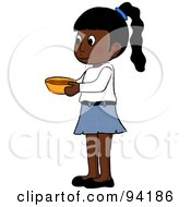 Royalty Free RF Clipart Illustration Of A Little Indian Girl Standing And Holding A Bowl by Pams Clipart