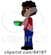 Royalty Free RF Clipart Illustration Of A Little African American Boy Standing And Holding A Bowl by Pams Clipart