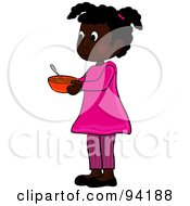Royalty Free RF Clipart Illustration Of A Little African American Girl Standing And Holding A Bowl by Pams Clipart