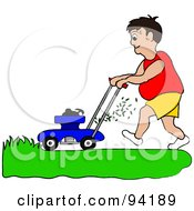 Royalty Free RF Clipart Illustration Of A Fat Man Mowing A Lawn With A Mower by Pams Clipart