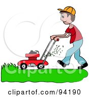 Royalty Free RF Clipart Illustration Of A Brunette Caucasian Boy Mowing A Lawn With A Mower by Pams Clipart