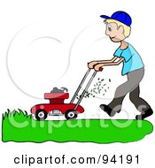Royalty Free RF Clipart Illustration Of A Blond Caucasian Boy Mowing A Lawn With A Mower by Pams Clipart