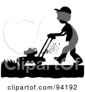 Royalty Free RF Clipart Illustration Of A Silhouetted Boy Mowing A Lawn With A Mower