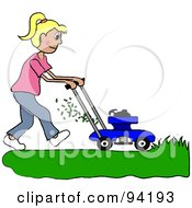 Royalty Free RF Clipart Illustration Of A Blond Caucasian Girl Mowing A Lawn With A Mower by Pams Clipart