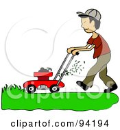 Royalty Free RF Clipart Illustration Of An Asian Boy Mowing A Lawn With A Mower by Pams Clipart