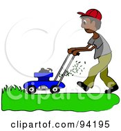 Royalty Free RF Clipart Illustration Of A Hispanic Boy Mowing A Lawn With A Mower by Pams Clipart