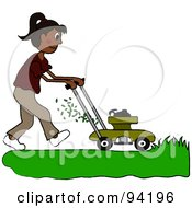 Royalty Free RF Clipart Illustration Of A Hispanic Girl Mowing A Lawn With A Mower by Pams Clipart