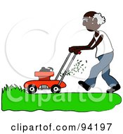 Royalty Free RF Clipart Illustration Of A Senior African American Man Mowing A Lawn With A Mower by Pams Clipart