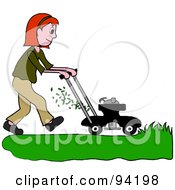 Royalty Free RF Clipart Illustration Of A Red Haired Girl Mowing A Lawn With A Mower by Pams Clipart