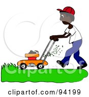 Royalty Free RF Clipart Illustration Of An African American Boy Mowing A Lawn With A Mower by Pams Clipart