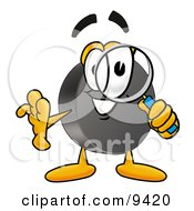 Clipart Picture Of A Hockey Puck Mascot Cartoon Character Looking Through A Magnifying Glass by Toons4Biz