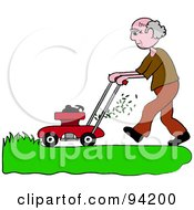 Royalty Free RF Clipart Illustration Of A Senior Caucasian Man Mowing A Lawn With A Mower by Pams Clipart