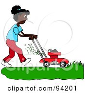 Royalty Free RF Clipart Illustration Of An African American Girl Mowing A Lawn With A Mower by Pams Clipart
