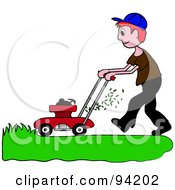 Royalty Free RF Clipart Illustration Of A Red Haired Caucasian Boy Mowing A Lawn With A Mower by Pams Clipart