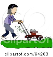Royalty Free RF Clipart Illustration Of An Asian Girl Mowing A Lawn With A Mower