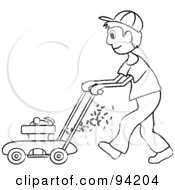 Royalty Free RF Clipart Illustration Of An Outlined Boy Mowing A Lawn With A Mower by Pams Clipart