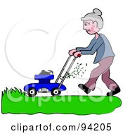 Royalty Free RF Clipart Illustration Of A Senior Woman Mowing A Lawn With A Mower