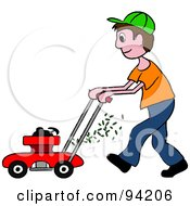 Royalty Free RF Clipart Illustration Of A Brunette Caucasian Boy Pushing A Lawn Mower by Pams Clipart