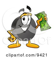Clipart Picture Of A Hockey Puck Mascot Cartoon Character Holding A Dollar Bill by Toons4Biz