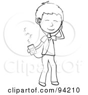 Royalty Free RF Clipart Illustration Of A Happy Outlined Stick Boy Listening To Tunes With A Music Player by Pams Clipart
