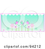 Row Of Pink And Turquoise Spring Flowers Under White Scallops Over Blue With Pink Trim