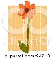 Royalty Free RF Clipart Illustration Of An Orange Flower Over Orange Stripes With White Edges