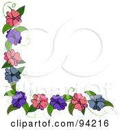 Corner Border Of Purple Blue And Pink Flowers On A Vine