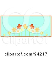 Row Of Orange Spring Flowers Over Blue With Orange Trim