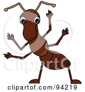 Royalty Free RF Clipart Illustration Of A Friendly Brown Waving Cartoon Ant by Pams Clipart
