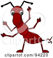 Royalty Free RF Clipart Illustration Of A Friendly Red Waving Cartoon Fire Ant